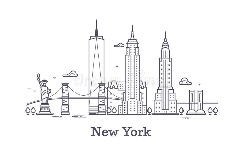 New York city outline skyline, nyc line silhouette, usa tourist and travel vector concept vector illustration