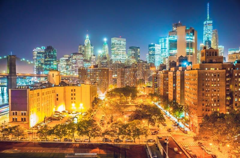 New York City på natten, Manhattan arkivfoton