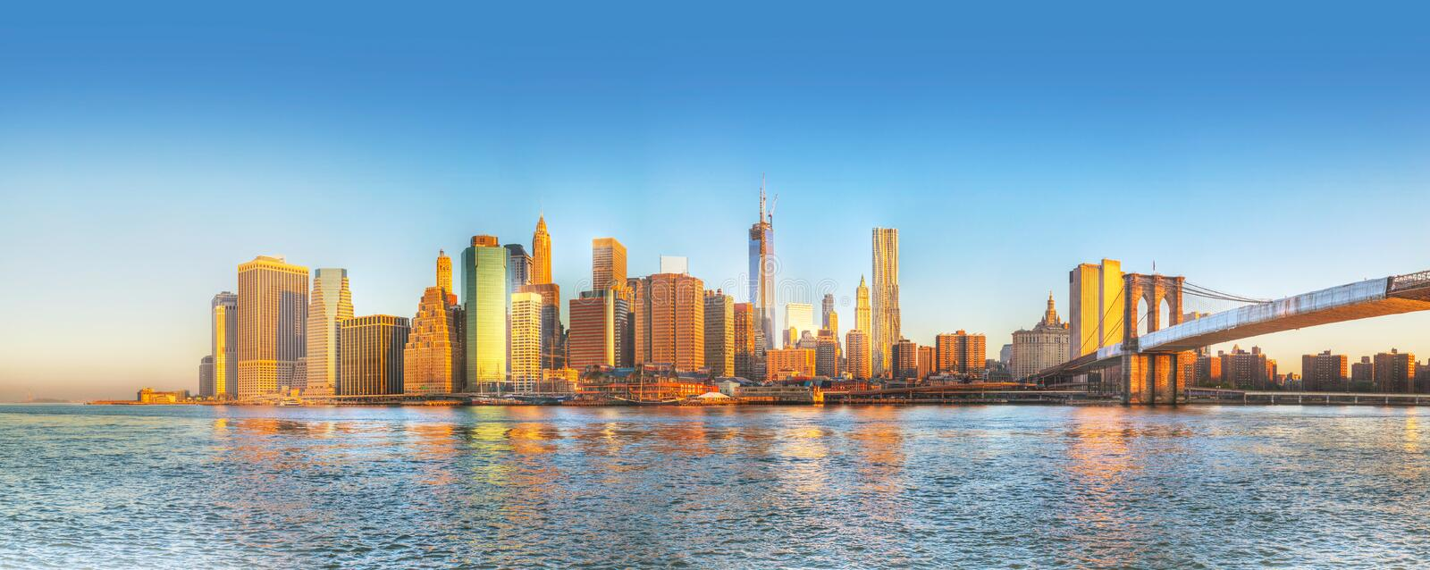 New York City Panorama In The Morning Royalty Free Stock Photography