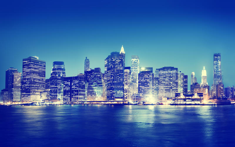 New York City Panorama Night Concept stock image