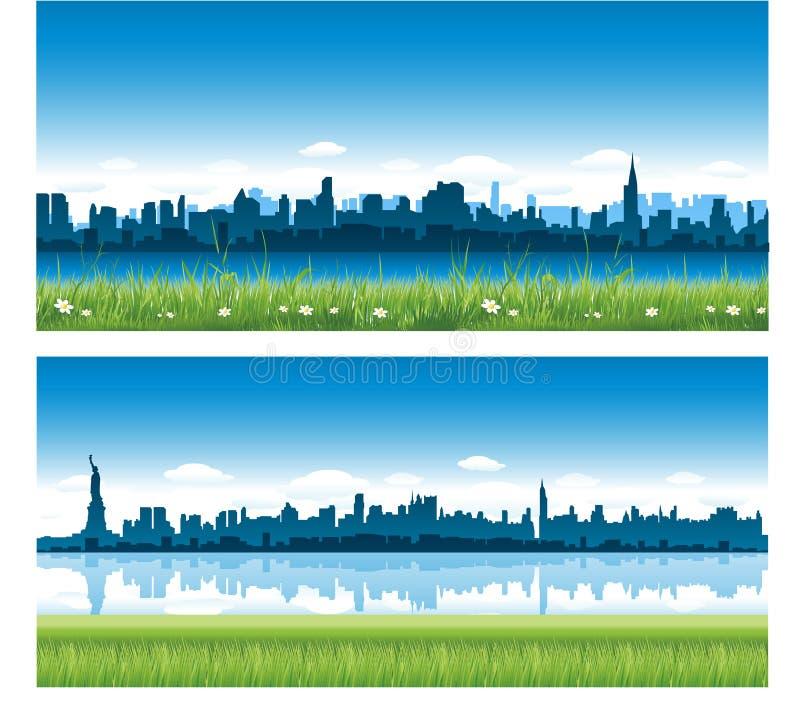 New York City panoramas stock illustration