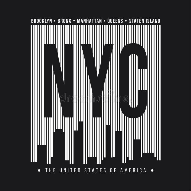New York City para a cópia do t-shirt Silhueta da skyline de New York Gráficos do t-shirt ilustração stock