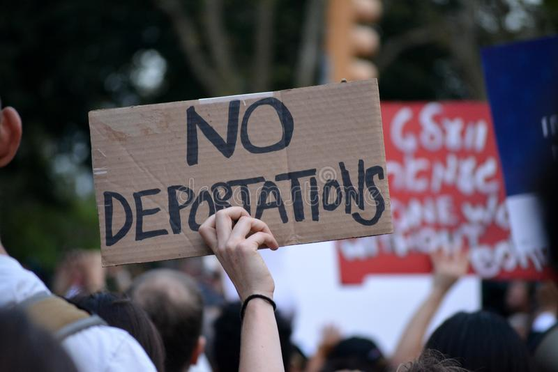 New York City. People protesting President Trump`s decision to repeal the Deferred Action for Childhood Arrivals DACA policy in Lower Manhattan royalty free stock photos