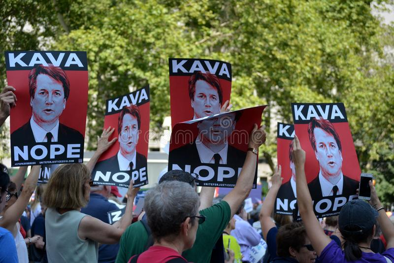New York City. People protesting Supreme Court nominee Brett Kavanaugh at a rally in Lower Manhattan royalty free stock image