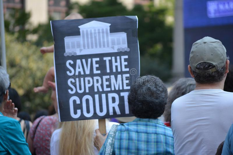 New York City. People protesting Supreme Court nominee Brett Kavanaugh at a rally in Lower Manhattan royalty free stock photo