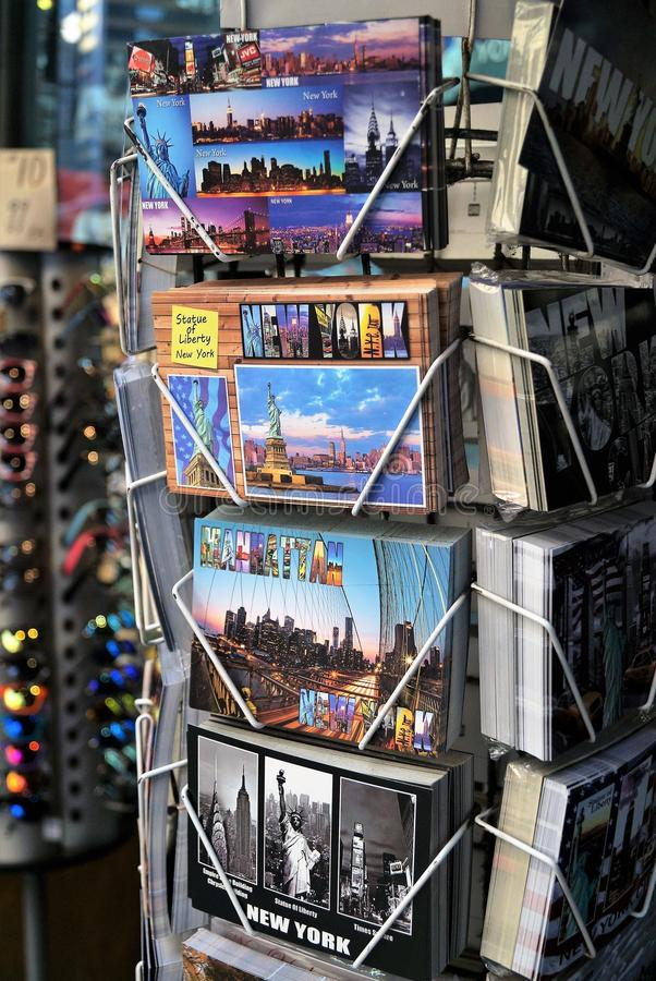 New York City Post Cards. New York City, NY, USA – June 29, 2014. A street view of a typical souvenir shop in Manhattan with New York City post cards for royalty free stock image