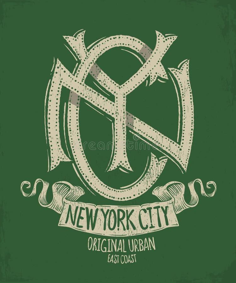 New York City, projeto da cópia do t-shirt do Grunge ilustração royalty free