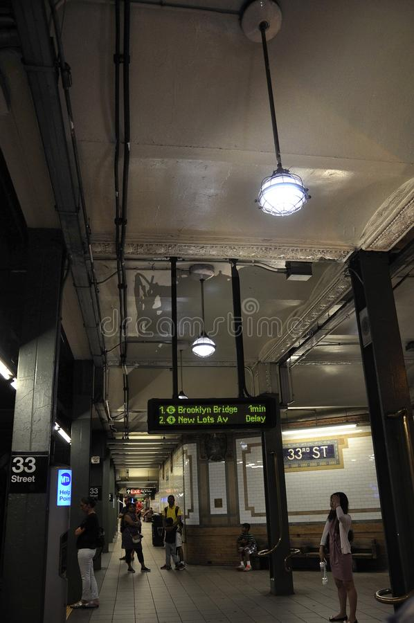 New York City, 3rd July: Metro Station interior in Lower Manhattan from New York City in United States royalty free stock photos