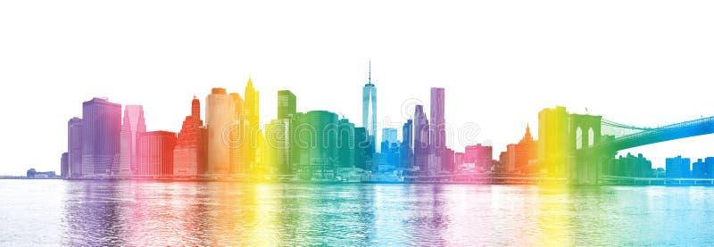 New York City - regnbågen färgar konturn av Manhattan skyscrap royaltyfri fotografi