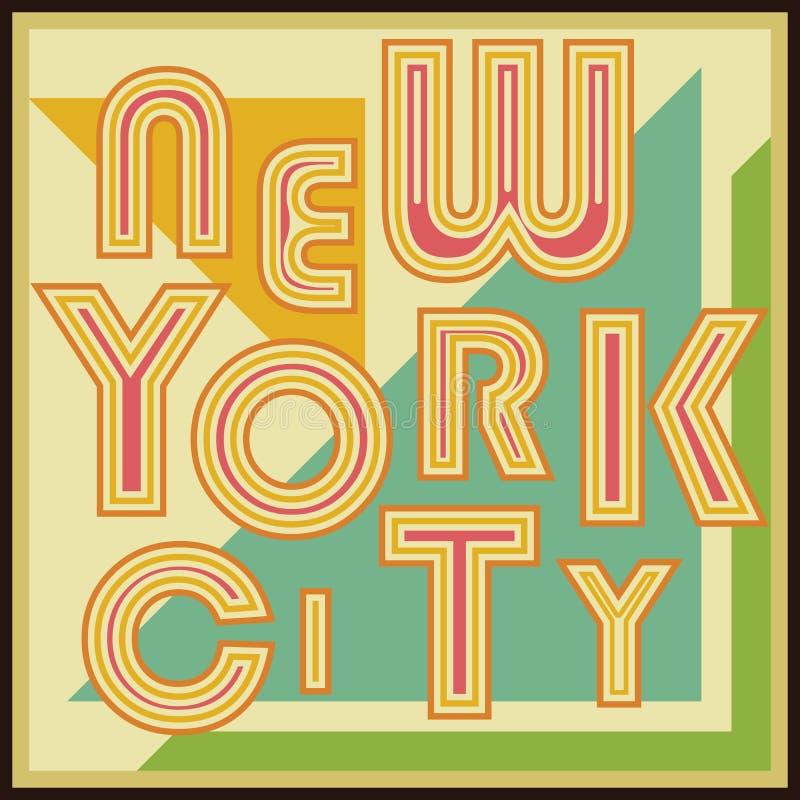 New York City retro vintage typography poster, t-shirt Printing design, vector Badge Applique Label.  stock illustration