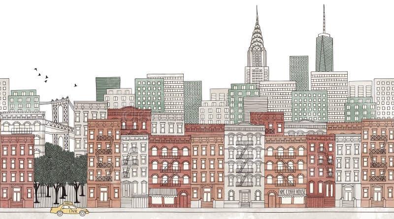 New York City - sömlöst baner av News York horisont royaltyfri illustrationer