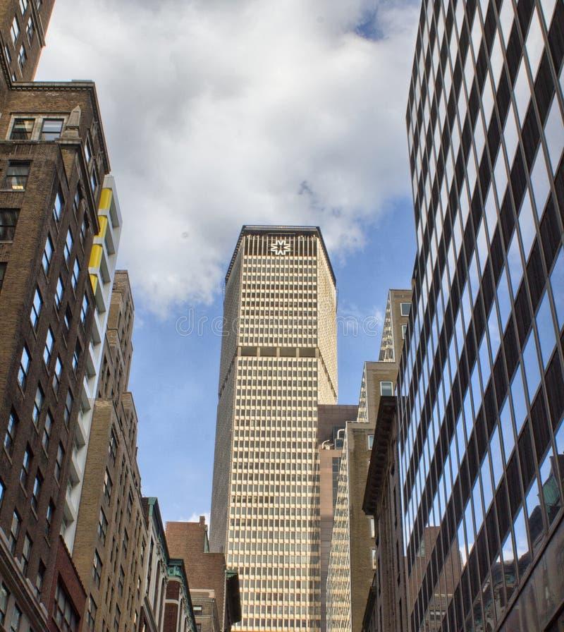 New York City, S Orizzonte meraviglioso di Manhattan nella stagione invernale immagini stock libere da diritti