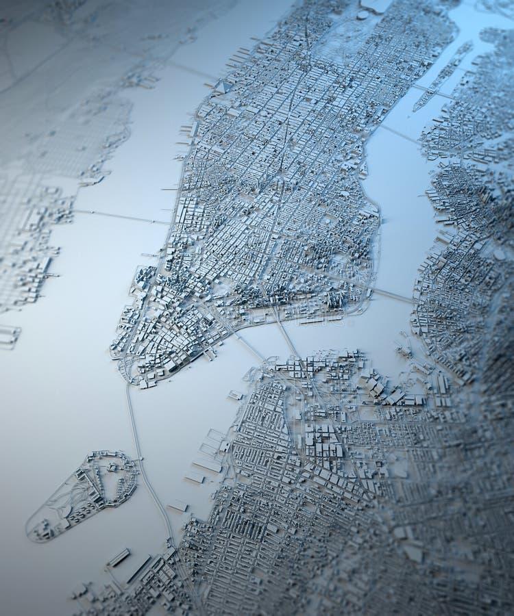 New York City Satellite Map View Stock Illustration Illustration