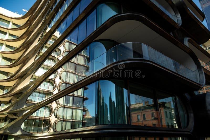 New York City Scape vom Highline und von der einzigartigen Architektur lizenzfreies stockfoto