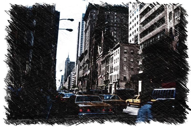 New York City scene with skyscrapers and yellow caps traffic. Charcoal sketch. stock illustration