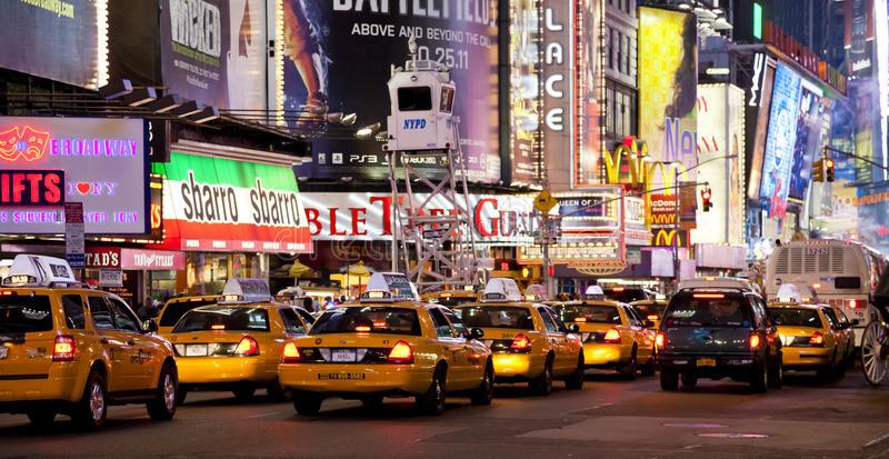 NEW YORK CITY - SEPT 5: Times Square. Featured with Broadway Theaters, Taxi Cabs and animated LED signs, is a symbol of New York City and the United States royalty free stock photo