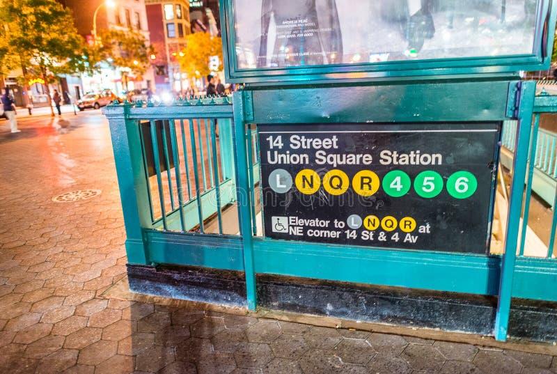 NEW YORK CITY - SEPTEMBER 2016: Eingangszeichen von Union Square SU stockfotografie