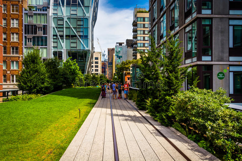 NEW YORK CITY - SEPTEMBER 3: Modern buildings along the High Lin stock image