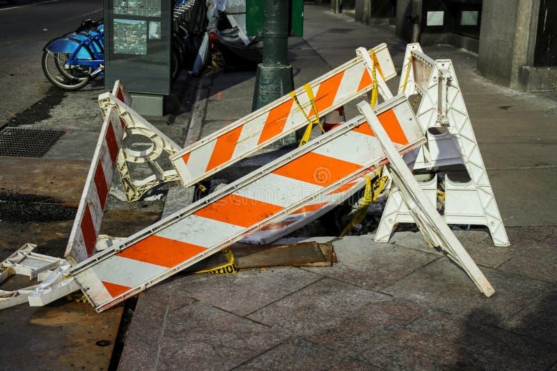 New York City sidewalk repairing. Under construction stock photography