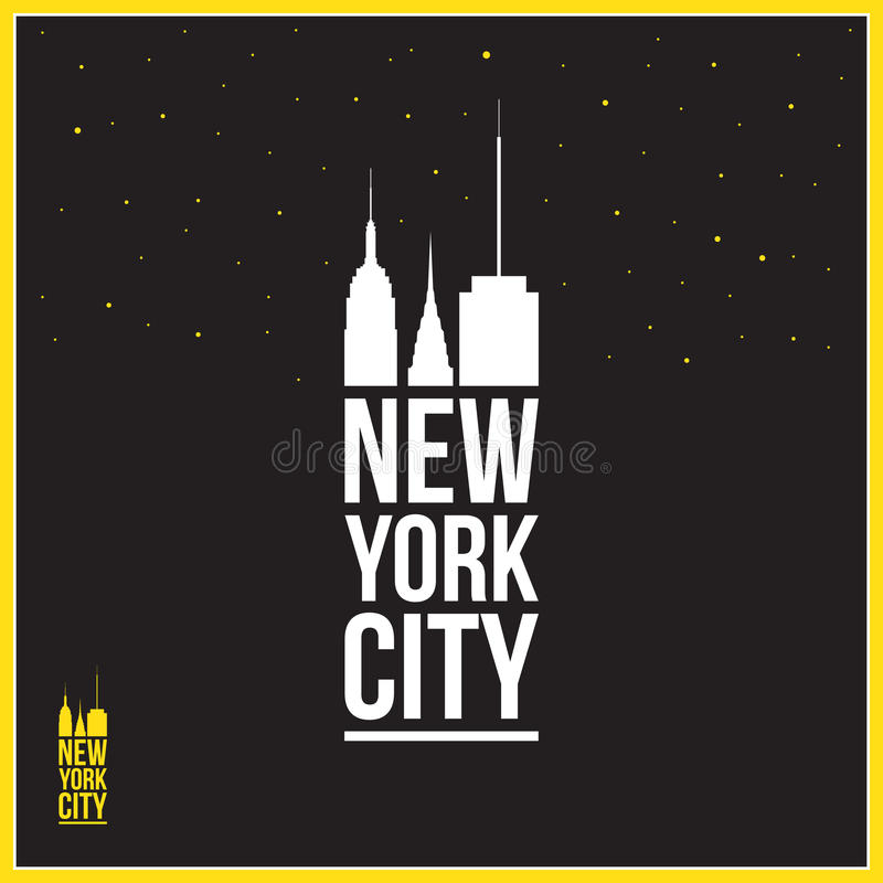 New York City sign, illustration, silhouettes of skyscrapers stock illustration
