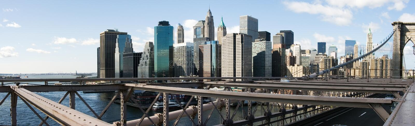 New York City Skyline. Lower Manhattan New York City (NYC) Skyline as seen from the Brooklyn Bridge, view of the Financial district royalty free stock photo