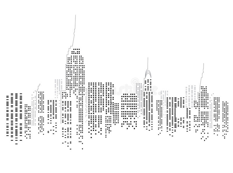 New York city skyline. Abstract illustration of the skyline of New York city on a white background, USA