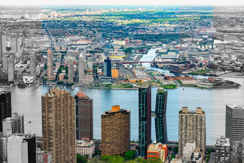 New York City Skyline Aerial View. Abstract, Architecture, Modern Building, High Angle View. Aerial View New York City Skyline. Artwork, Abstract, Architecture royalty free stock images