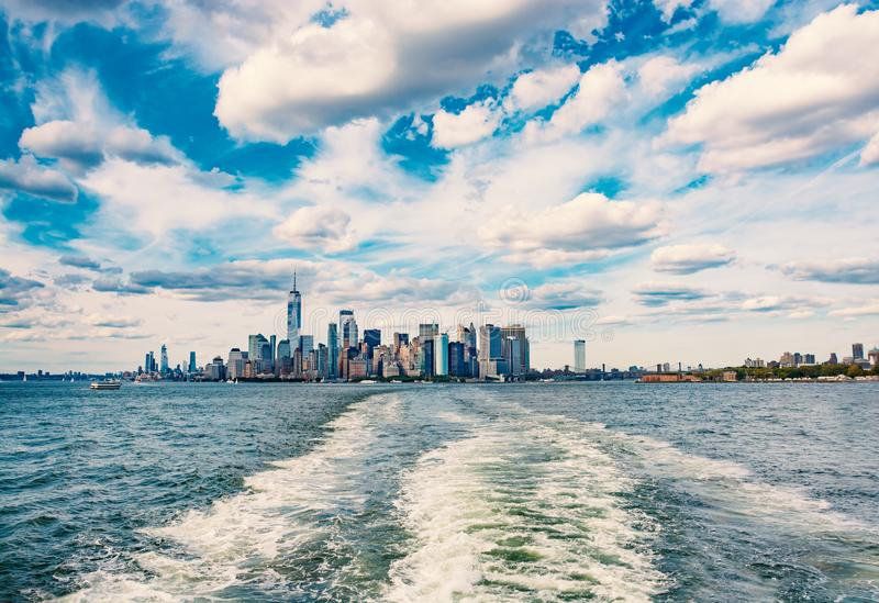 New York City skyline in beautiful clouds. royalty free stock photo