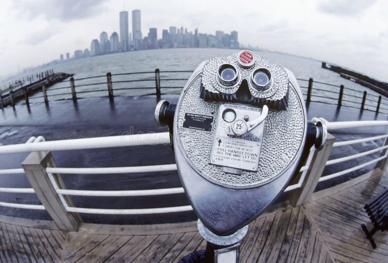 New York City Skyline with binocular viewer stock photos