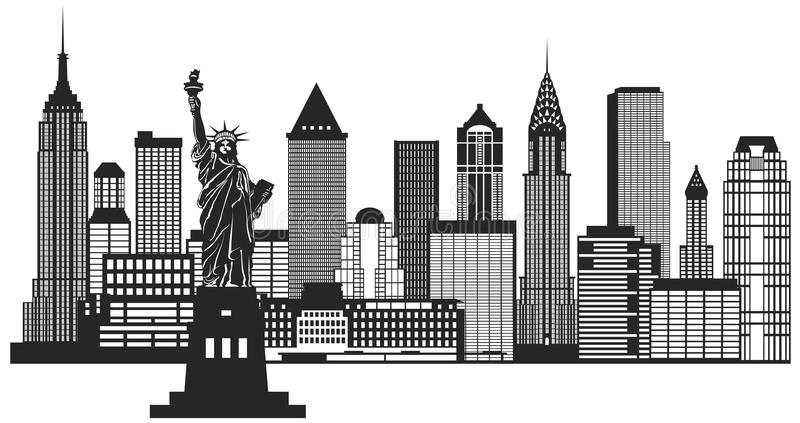 New York City Skyline Black and White Illustration Vector. New York City Skyline with Statue of Liberty Black and White Outline Illustration Vector