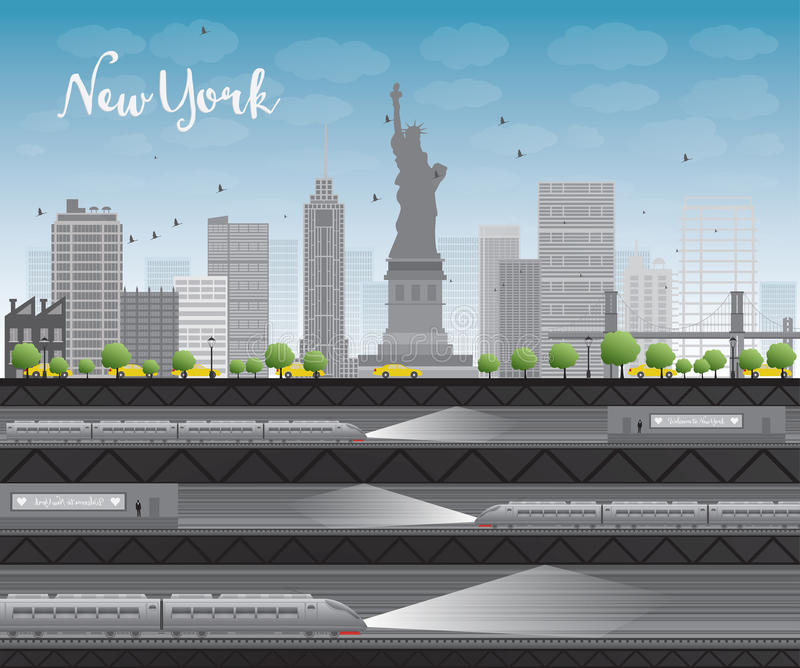 New York city skyline with blue sky, clouds, yellow taxi and train stock illustration