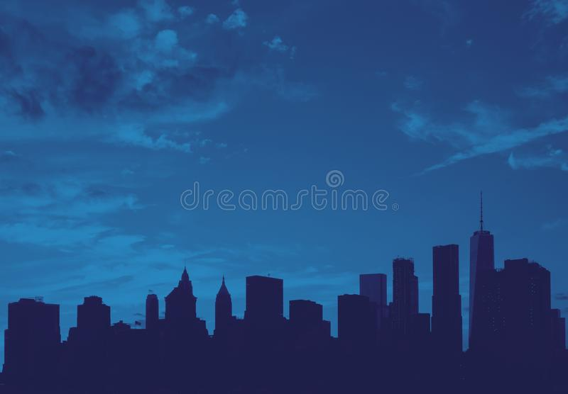New York City skyline buildings and empty sky in blue stock images