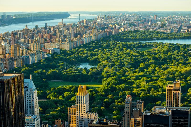 New York City skyline with Central Park, United States royalty free stock photos