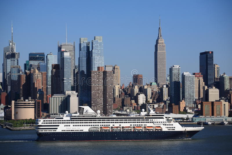 New York City Skyline and Cruise Ship royalty free stock images