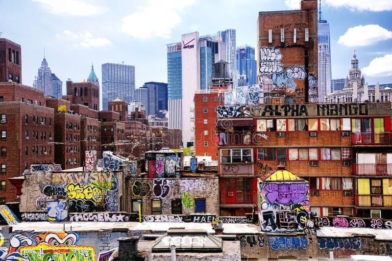 New York City Skyline and graffiti daytime royalty free stock photography