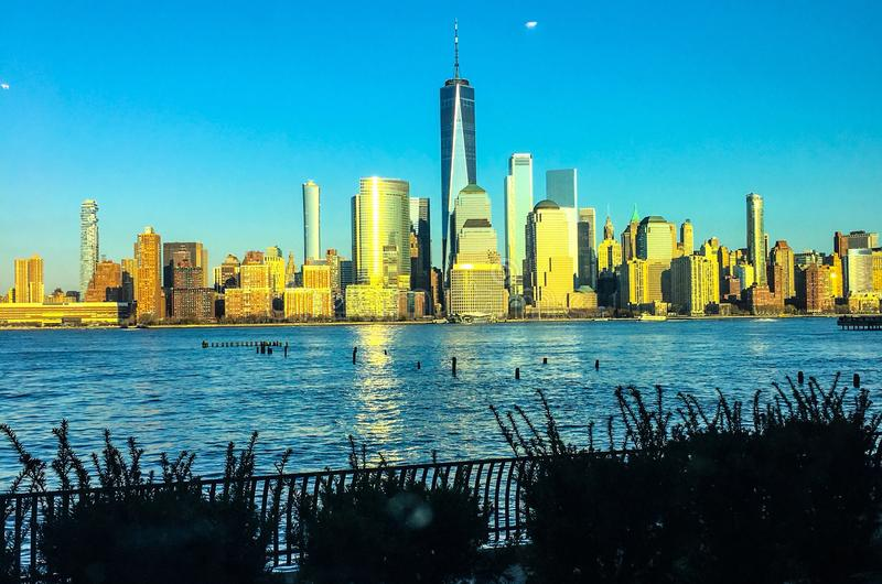 New York City skyline and the Hudson River royalty free stock photography