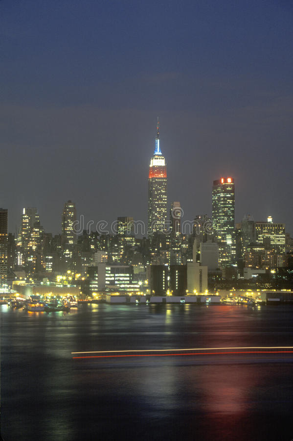 New York City Skyline at night as seen from Weehawken, New Jersey royalty free stock image