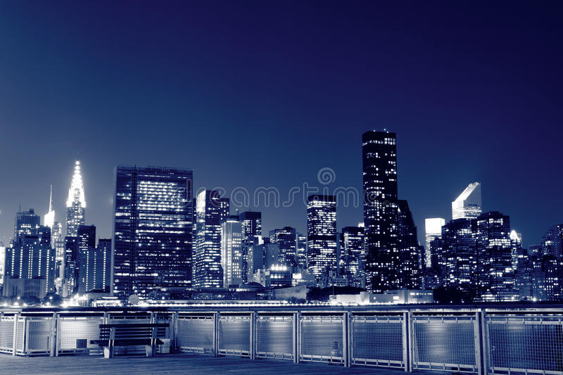 Download New York City Skyline At Night Lights Stock Image - Image: 16257745