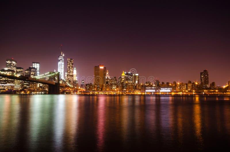 New York City skyline by night. royalty free stock photos