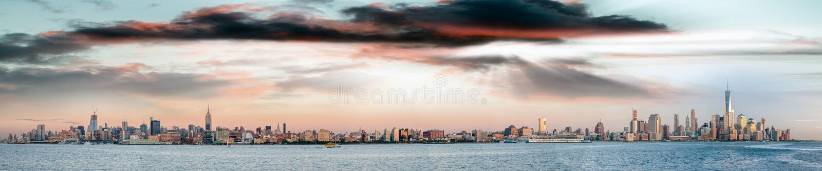 New York City skyline - Panoramic view at sunset from Jersey Cit stock photo