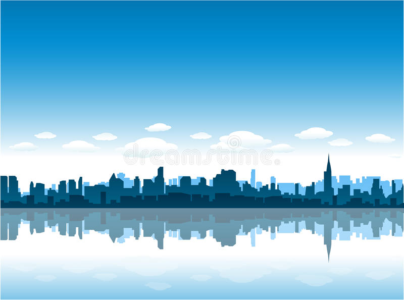 New York City Skyline Reflect On Water Royalty Free Stock Image