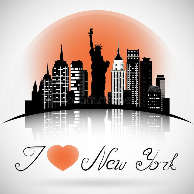 New York City skyline with reflection. eps 10 vector vector illustration