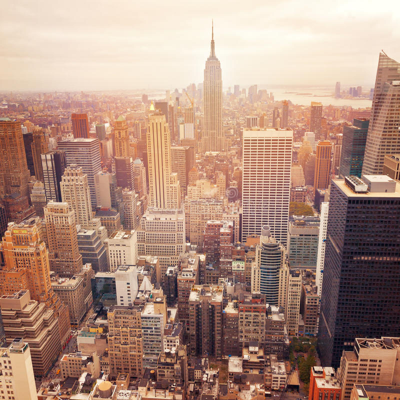 New York City skyline with retro filter effect, United States. New York City skyline with retro filter effect, USA royalty free stock images