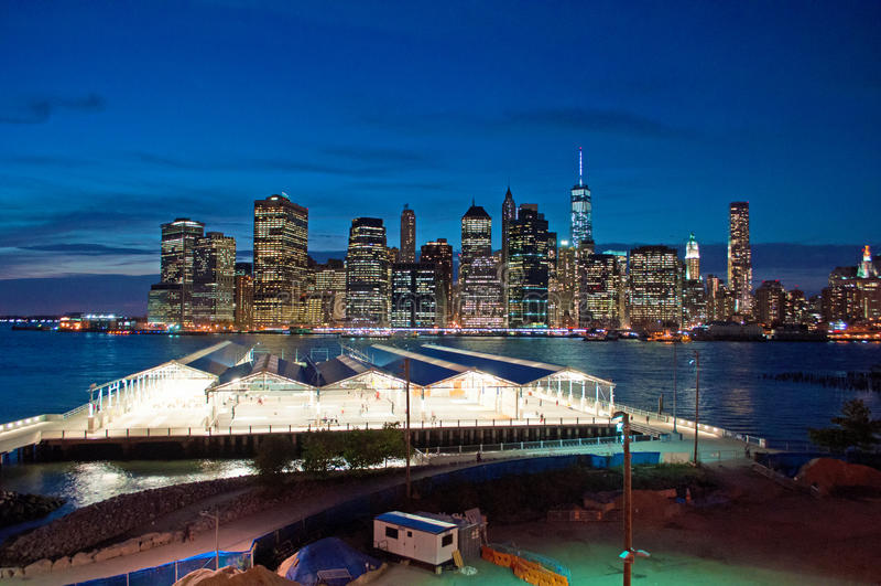 New York City skyline seen from Brooklyn Heights Promenade after sunset, lights. New York City, Nyc, the Big Apple, Manhattan, New York Bay, Hudson River stock photos
