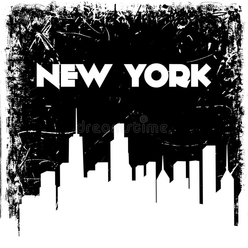 New York city skyline silhouette on grunge background. Vector hand drawn illustration. royalty free illustration