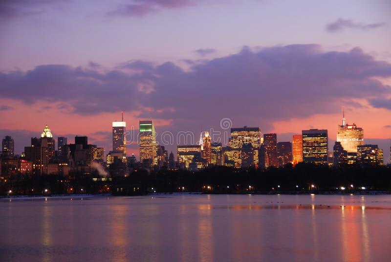 New York City skyline Sunset royalty free stock images
