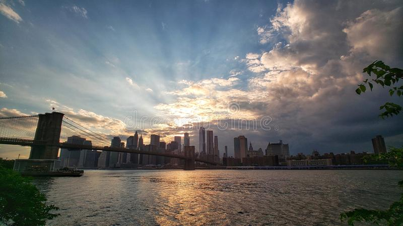 New York City skyline at sunset. stock photography