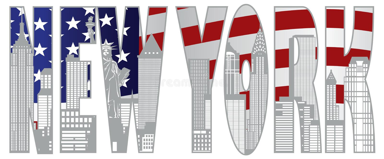 New York City Skyline Text Ooutline Vector Illustration royalty free illustration
