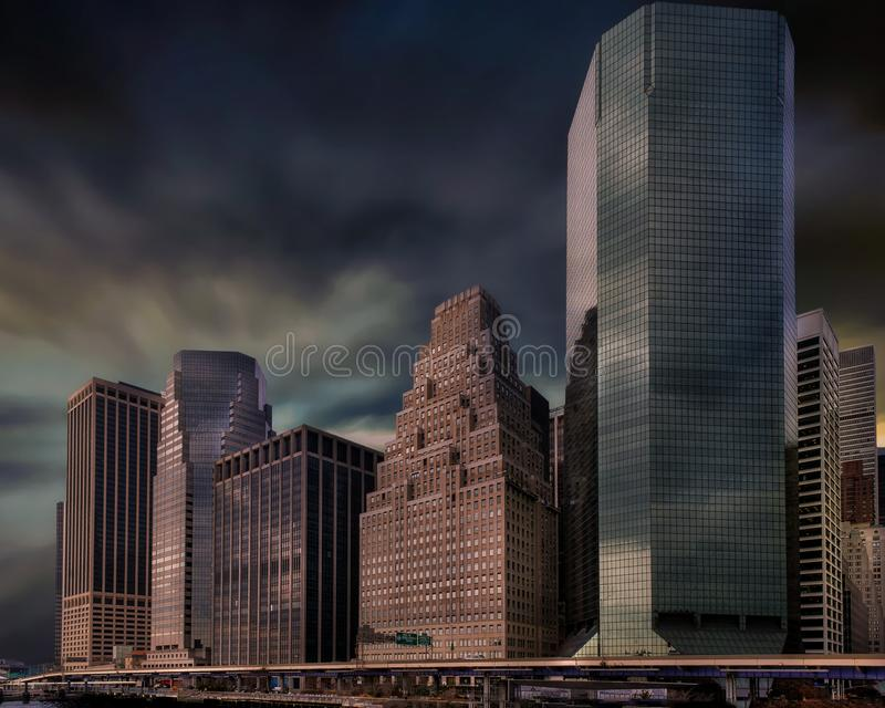 New York City skyline with urban skyscrapers at sunset royalty free stock photo
