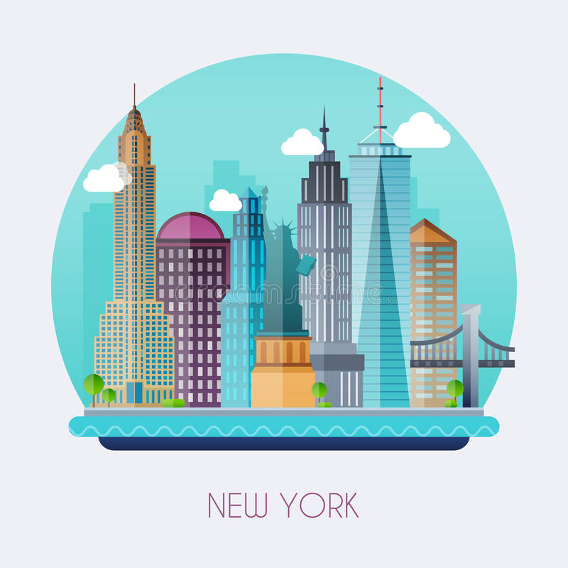 New York City. Skyline and vector landscape of buildings and the royalty free illustration